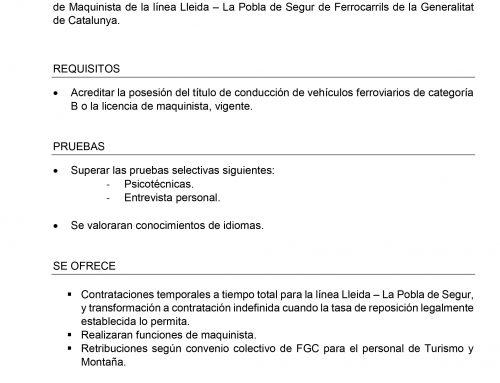 Oferta laboral Ferrocarrils de la Generalitat